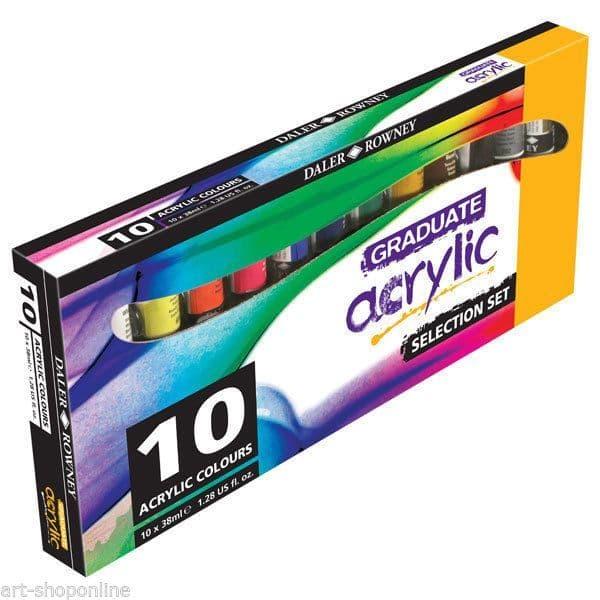 Daler Rowney Graduate Acrylic Paint Set of 10 x 38ml Colours